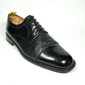 MEZLAN Men's 10 M Black Leather Cap-toe Oxfords